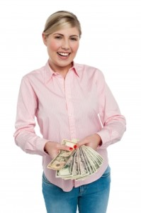 Woman with lottery winnings Image
